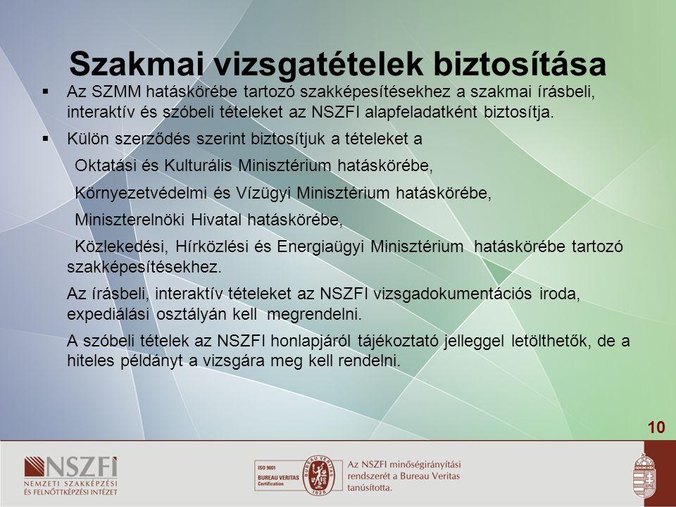 10 Szakmai vizsgatételek biztosítása  Az SZMM hatáskörébe tartozó szakképesítésekhez a szakmai írásbeli, interaktív és szóbeli tételeket az NSZFI ala