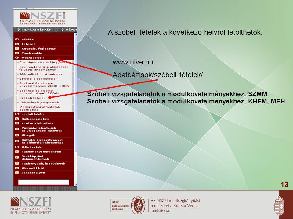 13 A szóbeli tételek a következő helyről letölthetők: www.nive.hu Adatbázisok/szóbeli tételek/ Szóbeli vizsgafeladatok a modulkövetelményekhez, SZMM S