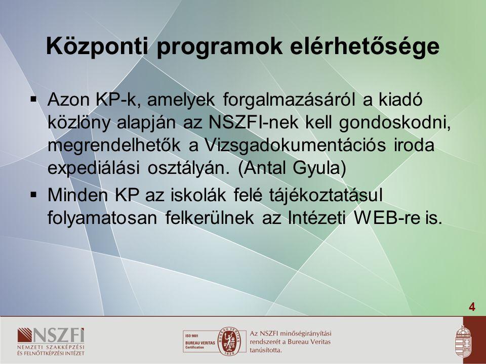 4 Központi programok elérhetősége  Azon KP-k, amelyek forgalmazásáról a kiadó közlöny alapján az NSZFI-nek kell gondoskodni, megrendelhetők a Vizsgad