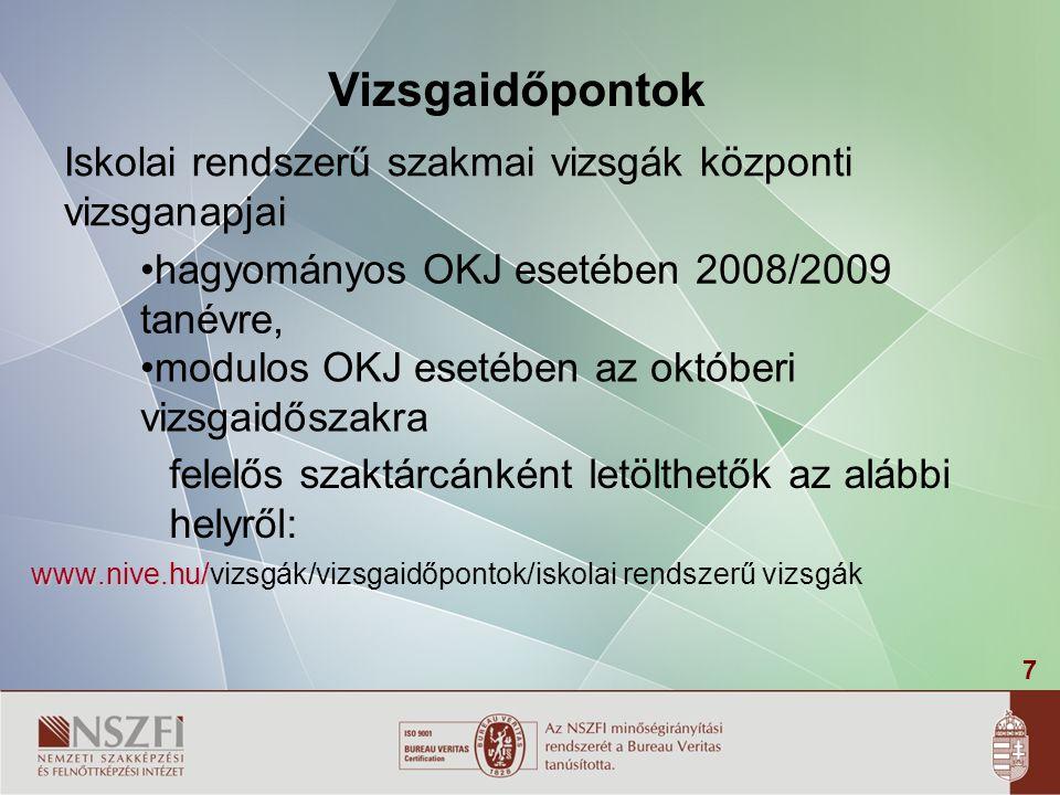 7 Iskolai rendszerű szakmai vizsgák központi vizsganapjai www.nive.hu/ www.nive.hu/vizsgák/vizsgaidőpontok/iskolai rendszerű vizsgák Vizsgaidőpontok h