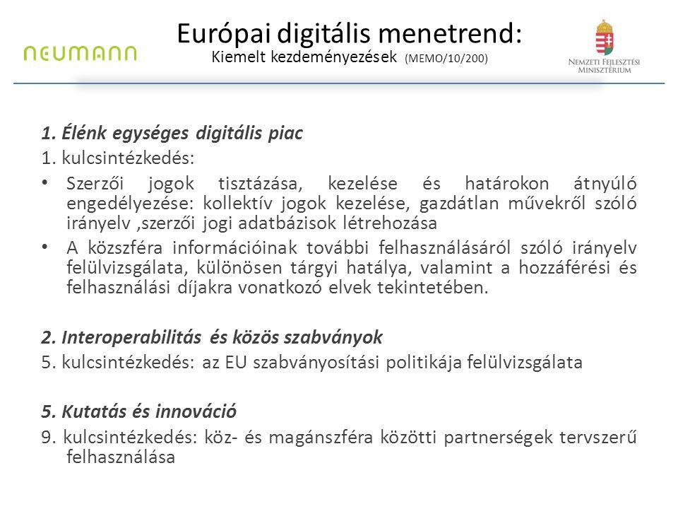 Európai digitális menetrend: Kiemelt kezdeményezések (MEMO/10/200) 1. Élénk egységes digitális piac 1. kulcsintézkedés: Szerzői jogok tisztázása, keze
