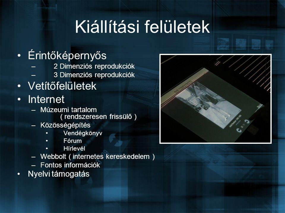 Érintőképernyős – 2 Dimenziós reprodukciók – 3 Dimenziós reprodukciók Vetítőfelületek Internet –Múzeumi tartalom ( rendszeresen frissülő ) –Közösségép