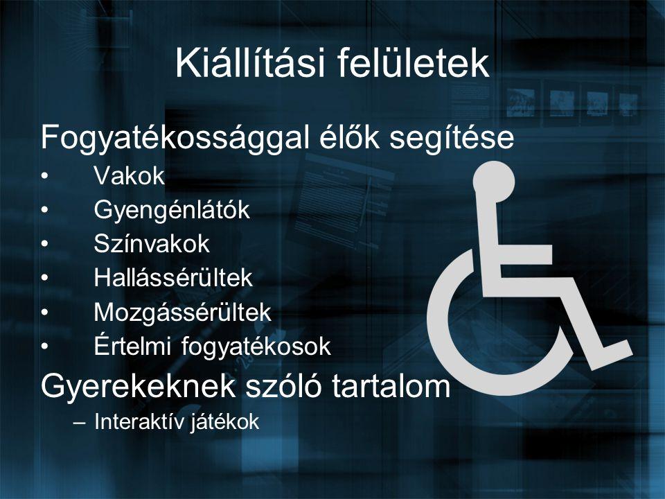 Kiállítási felületek Fogyatékossággal élők segítése Vakok Gyengénlátók Színvakok Hallássérültek Mozgássérültek Értelmi fogyatékosok Gyerekeknek szóló