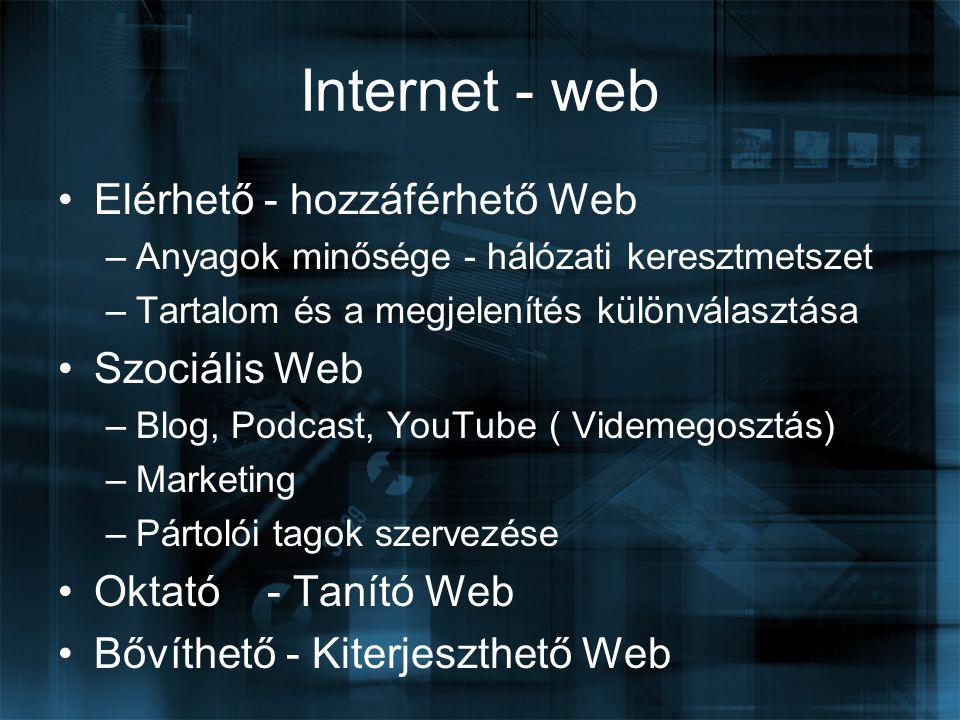 Internet - web Elérhető - hozzáférhető Web –Anyagok minősége - hálózati keresztmetszet –Tartalom és a megjelenítés különválasztása Szociális Web –Blog