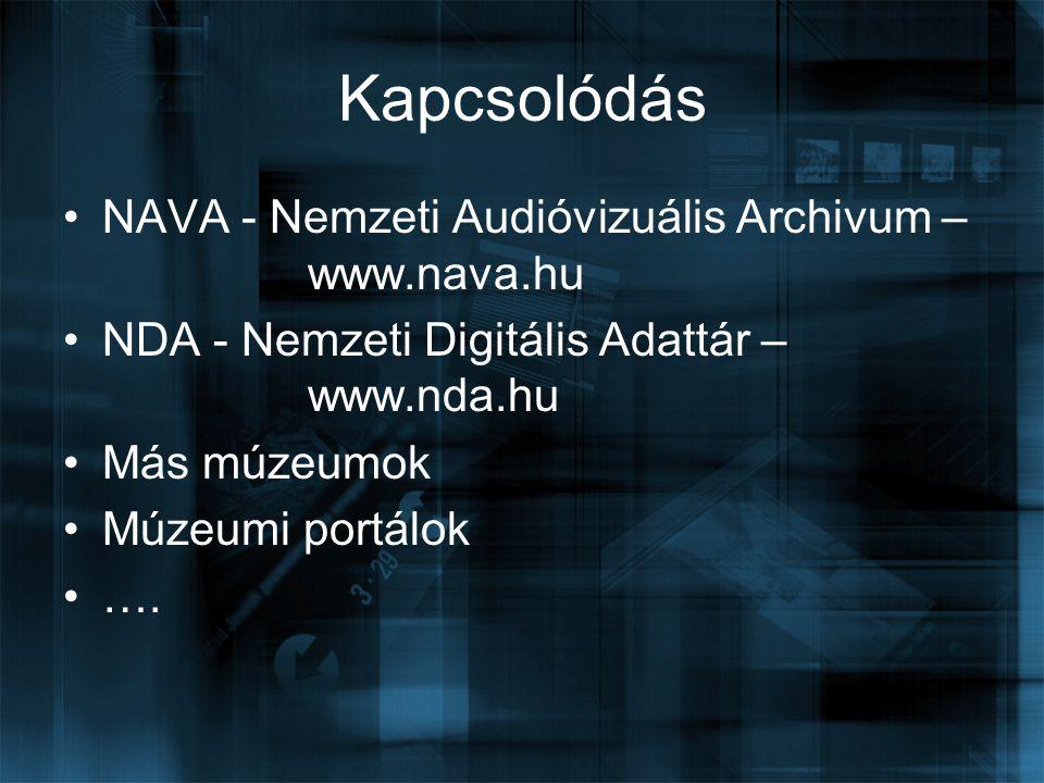 Kapcsolódás NAVA - Nemzeti Audióvizuális Archivum – www.nava.hu NDA - Nemzeti Digitális Adattár – www.nda.hu Más múzeumok Múzeumi portálok ….