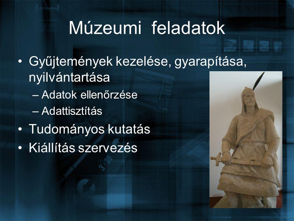 Múzeumi feladatok Gyűjtemények kezelése, gyarapítása, nyilvántartása –Adatok ellenőrzése –Adattisztítás Tudományos kutatás Kiállítás szervezés