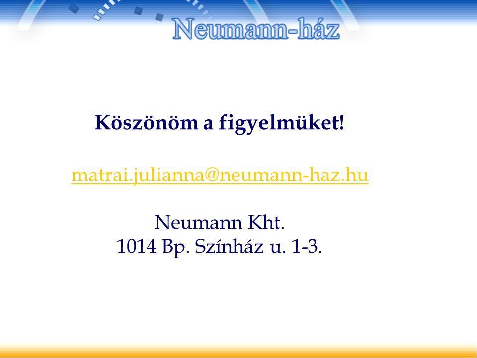 Köszönöm a figyelmüket! matrai.julianna@neumann-haz.hu Neumann Kht. 1014 Bp. Színház u. 1-3.