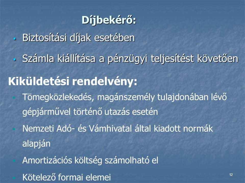 12 Díjbekérő:  Biztosítási díjak esetében  Számla kiállítása a pénzügyi teljesítést követően Kiküldetési rendelvény:  Tömegközlekedés, magánszemély