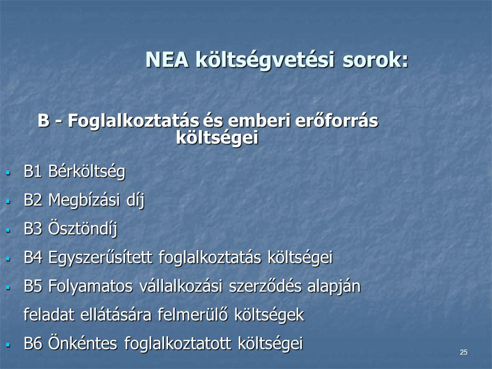 25 NEA költségvetési sorok: B - Foglalkoztatás és emberi erőforrás költségei  B1 Bérköltség  B2 Megbízási díj  B3 Ösztöndíj  B4 Egyszerűsített fog