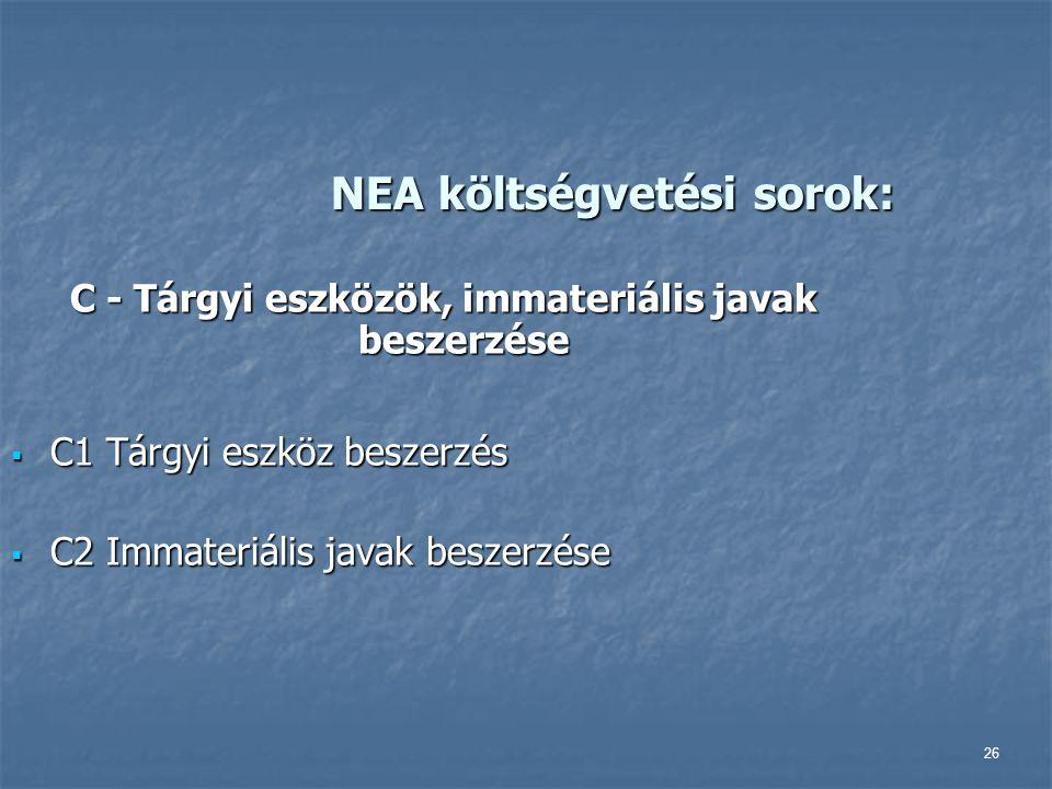 26 NEA költségvetési sorok: C - Tárgyi eszközök, immateriális javak beszerzése  C1 Tárgyi eszköz beszerzés  C2 Immateriális javak beszerzése