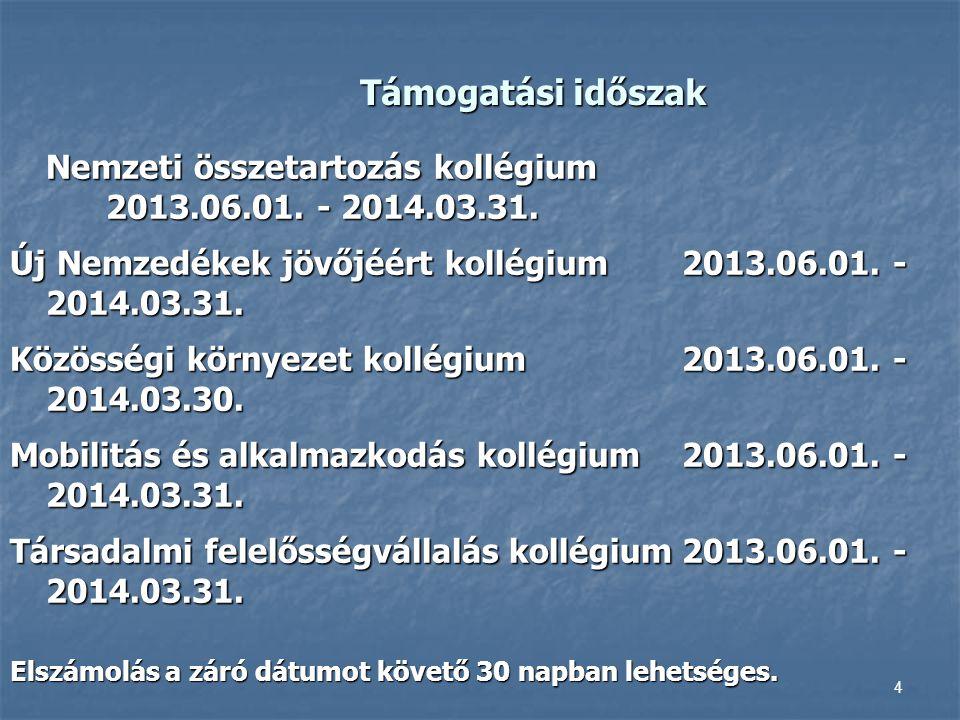 Támogatási időszak Nemzeti összetartozás kollégium 2013.06.01. - 2014.03.31. Új Nemzedékek jövőjéért kollégium 2013.06.01. - 2014.03.31. Közösségi kör