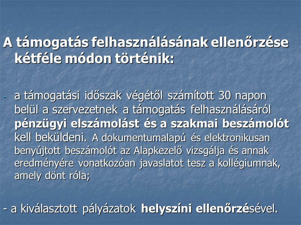 6 Szakmai beszámoló  Célja: a pályázatban vállalt feladatok végrehajtásának szöveges bemutatása  Része: a) elektronikus szakmai adatlap (EPER), b) kötelezően előírt, vagy a pályázati programban vállalt dokumentumok (kiadványok, szórólapok, stb.) A beszámoláshoz szükséges formanyomtatványok letölthetők a www.civil.kormany.hu és a www.emet.gov.hu honlapokról.