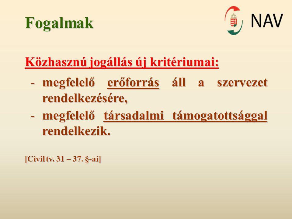 Fogalmak Közhasznú jogállás 1.2011.december 31-én már minősítéssel rendelkezik → 2014.