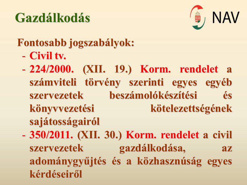 Gazdálkodás Fontosabb jogszabályok: -Civil tv. -224/2000.