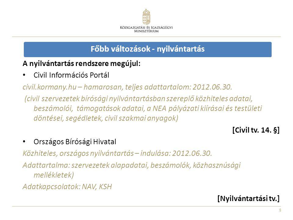 8 Főbb változások - nyilvántartás A nyilvántartás rendszere megújul: Civil Információs Portál civil.kormany.hu – hamarosan, teljes adattartalom: 2012.