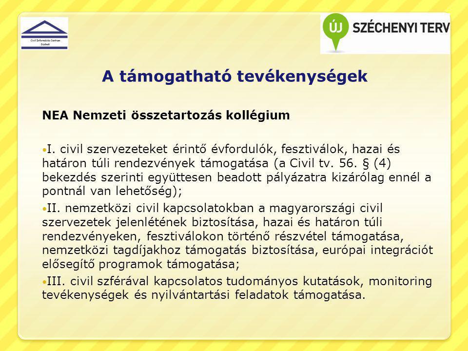 A támogatható tevékenységek NEA Nemzeti összetartozás kollégium I.