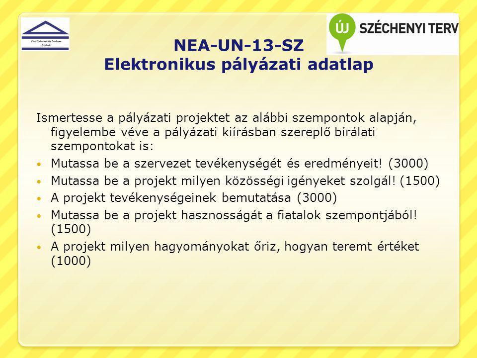 NEA-UN-13-SZ Elektronikus pályázati adatlap Ismertesse a pályázati projektet az alábbi szempontok alapján, figyelembe véve a pályázati kiírásban szereplő bírálati szempontokat is: Mutassa be a szervezet tevékenységét és eredményeit.
