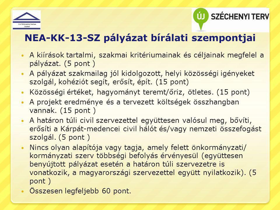 NEA-KK-13-SZ pályázat bírálati szempontjai A kiírások tartalmi, szakmai kritériumainak és céljainak megfelel a pályázat. (5 pont ) A pályázat szakmail