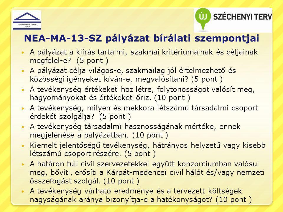 NEA-MA-13-SZ pályázat bírálati szempontjai A pályázat a kiírás tartalmi, szakmai kritériumainak és céljainak megfelel-e? (5 pont ) A pályázat célja vi