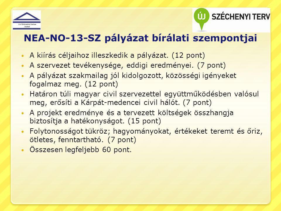NEA-NO-13-SZ pályázat bírálati szempontjai A kiírás céljaihoz illeszkedik a pályázat. (12 pont) A szervezet tevékenysége, eddigi eredményei. (7 pont)