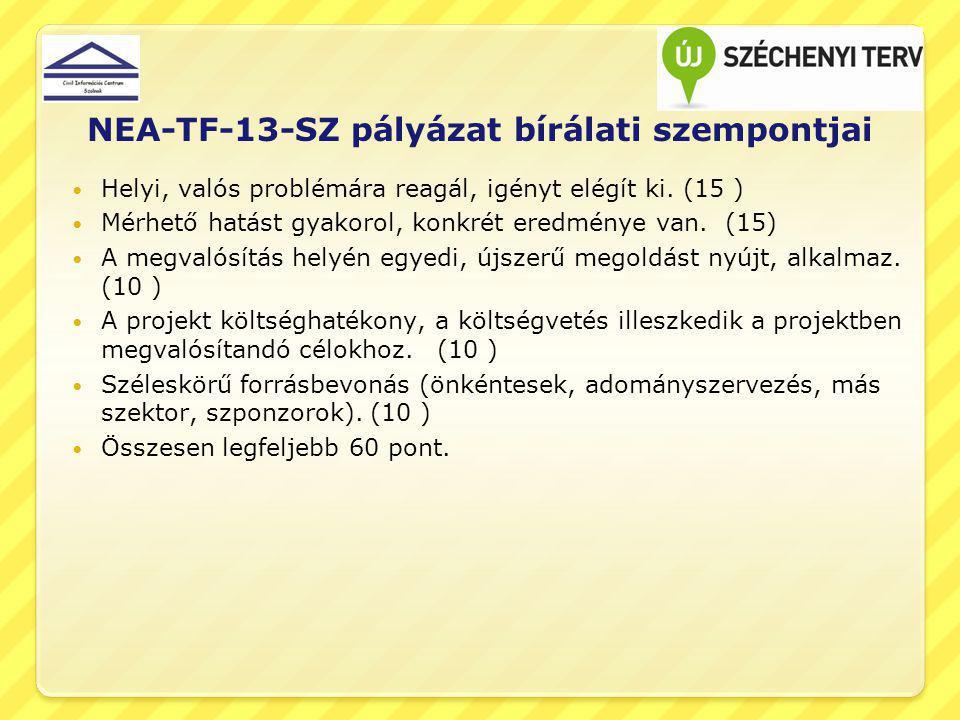 NEA-TF-13-SZ pályázat bírálati szempontjai Helyi, valós problémára reagál, igényt elégít ki. (15 ) Mérhető hatást gyakorol, konkrét eredménye van. (15
