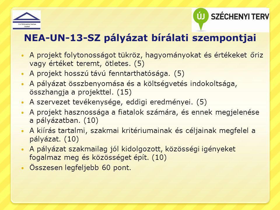 NEA-UN-13-SZ pályázat bírálati szempontjai A projekt folytonosságot tükröz, hagyományokat és értékeket őriz vagy értéket teremt, ötletes. (5) A projek