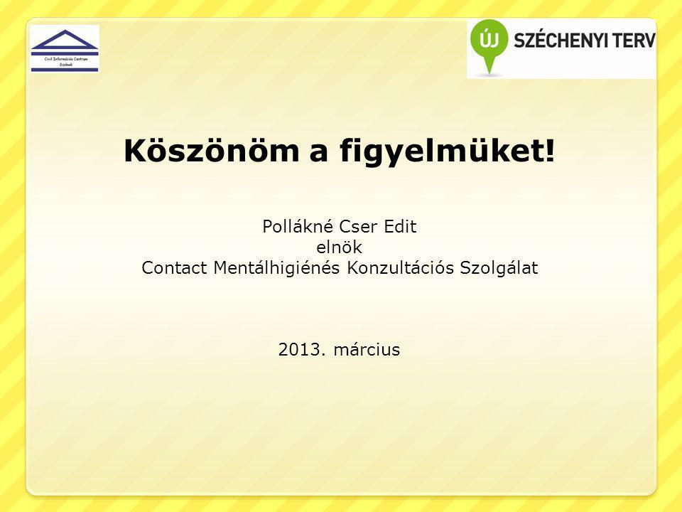 Köszönöm a figyelmüket! Pollákné Cser Edit elnök Contact Mentálhigiénés Konzultációs Szolgálat 2013. március