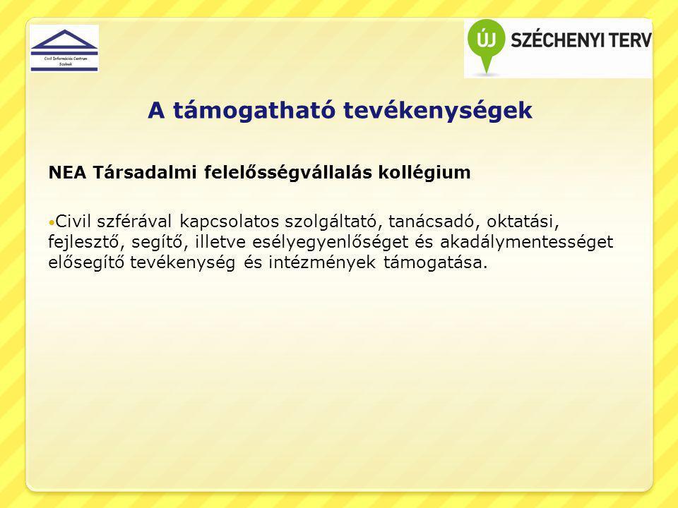 Támogatási időszak NEA Nemzeti összetartozás kollégium2013.
