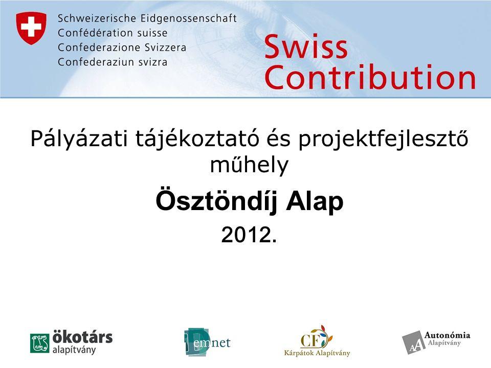 A támogató és a lebonyolítók A támogatás forrása: –A Svájci-Magyar Együttműködési Program Lebonyolítók (Támogatásközvetítő Szervezetként) : magyarországi támogató alapítványok konzorciuma : –Ökotárs Alapítvány -- a konzorcium vezetője -- –Autonómia Alapítvány –Demokratikus Jogok Fejlesztéséért Alapítvány (DemNet) –Kárpátok Alapítvány-Magyarország Felügyeleti intézmények: − Svájci Hozzájárulás Program Hivatala (SCO) − Nemzeti Fejlesztési Ügynökség (NFÜ) Nemzeti Koordinációs Egység − A VÁTI Nonprofit Kft a Közreműködő Szervezet (KSZ)