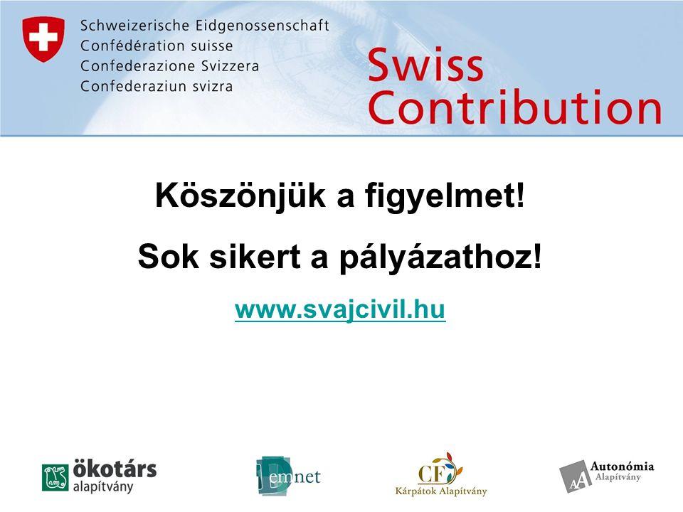 Köszönjük a figyelmet! Sok sikert a pályázathoz! www.svajcivil.hu