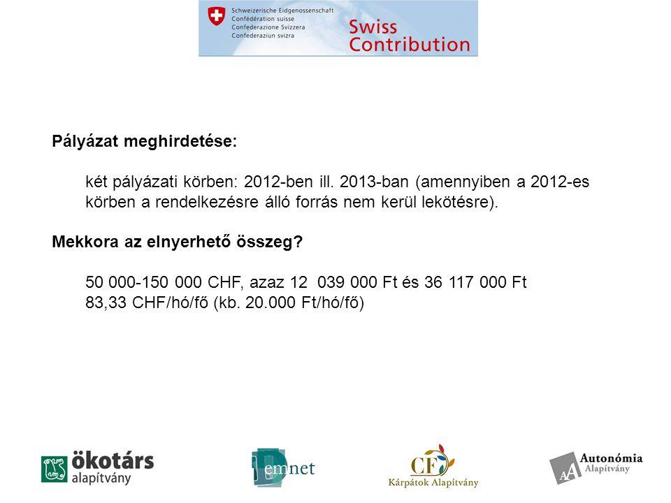 Pályázat meghirdetése: két pályázati körben: 2012-ben ill.