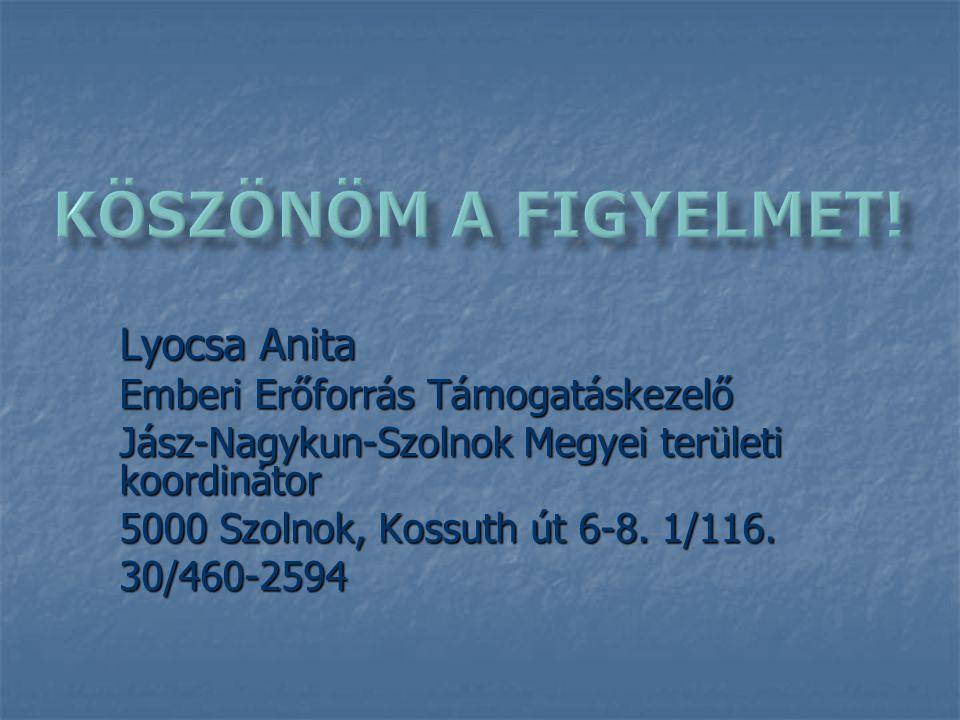 Lyocsa Anita Emberi Erőforrás Támogatáskezelő Jász-Nagykun-Szolnok Megyei területi koordinátor 5000 Szolnok, Kossuth út 6-8.