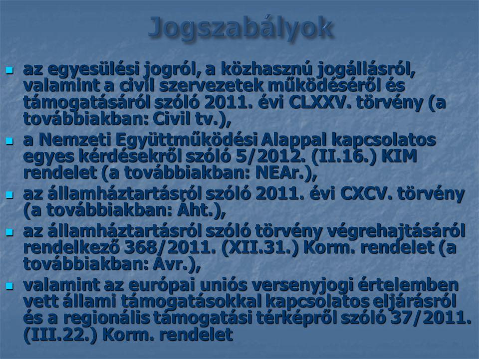 az egyesülési jogról, a közhasznú jogállásról, valamint a civil szervezetek működéséről és támogatásáról szóló 2011. évi CLXXV. törvény (a továbbiakba