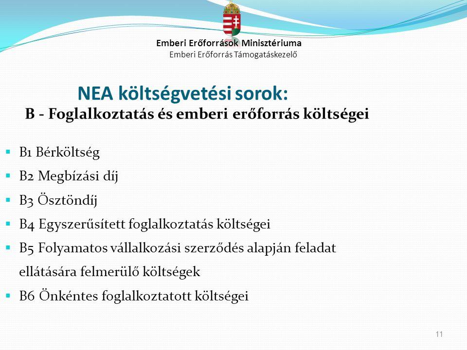 11 NEA költségvetési sorok: B - Foglalkoztatás és emberi erőforrás költségei  B1 Bérköltség  B2 Megbízási díj  B3 Ösztöndíj  B4 Egyszerűsített fog