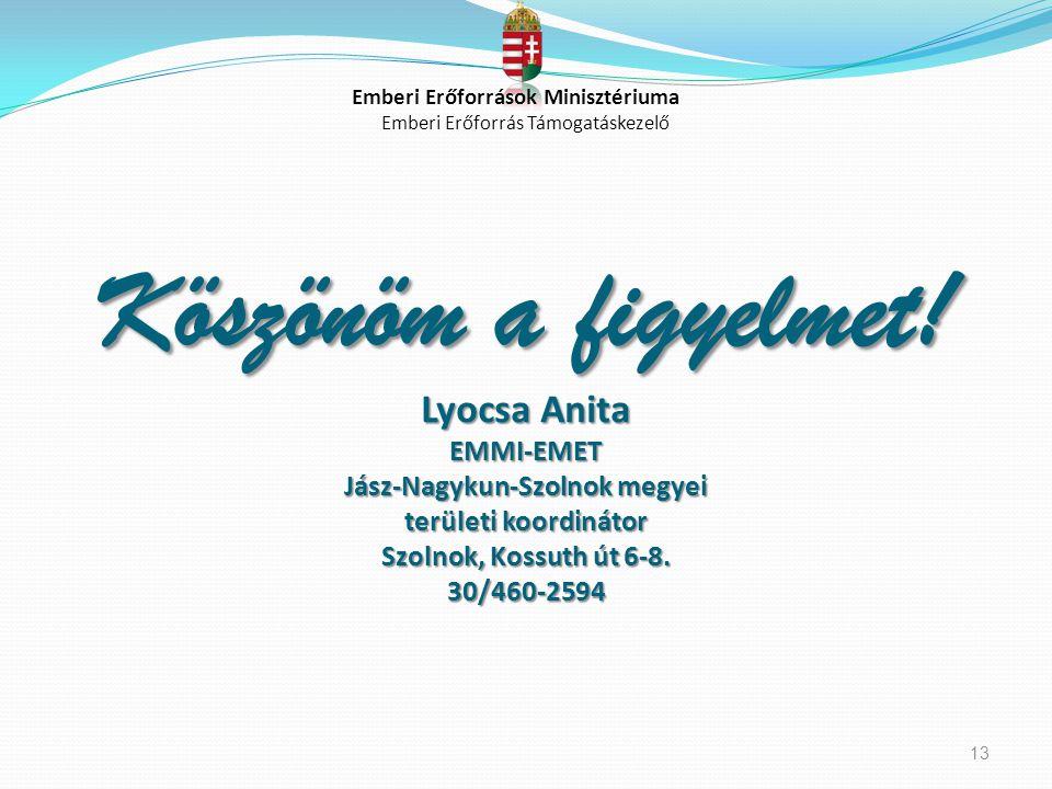 Köszönöm a figyelmet! Lyocsa Anita EMMI-EMET Jász-Nagykun-Szolnok megyei területi koordinátor Szolnok, Kossuth út 6-8. 30/460-2594 13 Emberi Erőforrás