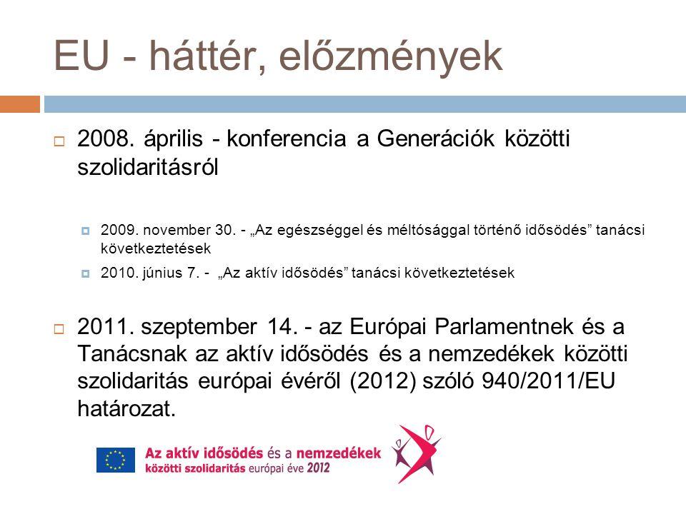 EU - háttér, előzmények  2008. április - konferencia a Generációk közötti szolidaritásról  2009.