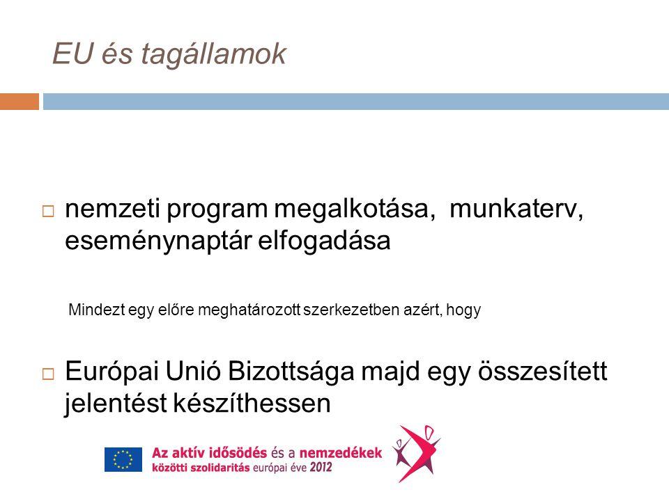 EU és tagállamok  nemzeti program megalkotása, munkaterv, eseménynaptár elfogadása Mindezt egy előre meghatározott szerkezetben azért, hogy  Európai Unió Bizottsága majd egy összesített jelentést készíthessen