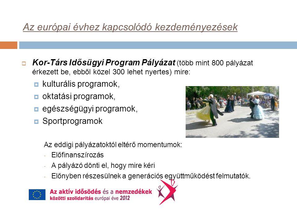 Az európai évhez kapcsolódó kezdeményezések  Kor-Társ Idősügyi Program Pályázat (több mint 800 pályázat érkezett be, ebből közel 300 lehet nyertes) mire:  kulturális programok,  oktatási programok,  egészségügyi programok,  Sportprogramok Az eddigi pályázatoktól eltérő momentumok: - Előfinanszírozás - A pályázó dönti el, hogy mire kéri - Előnyben részesülnek a generációs együttműködést felmutatók.