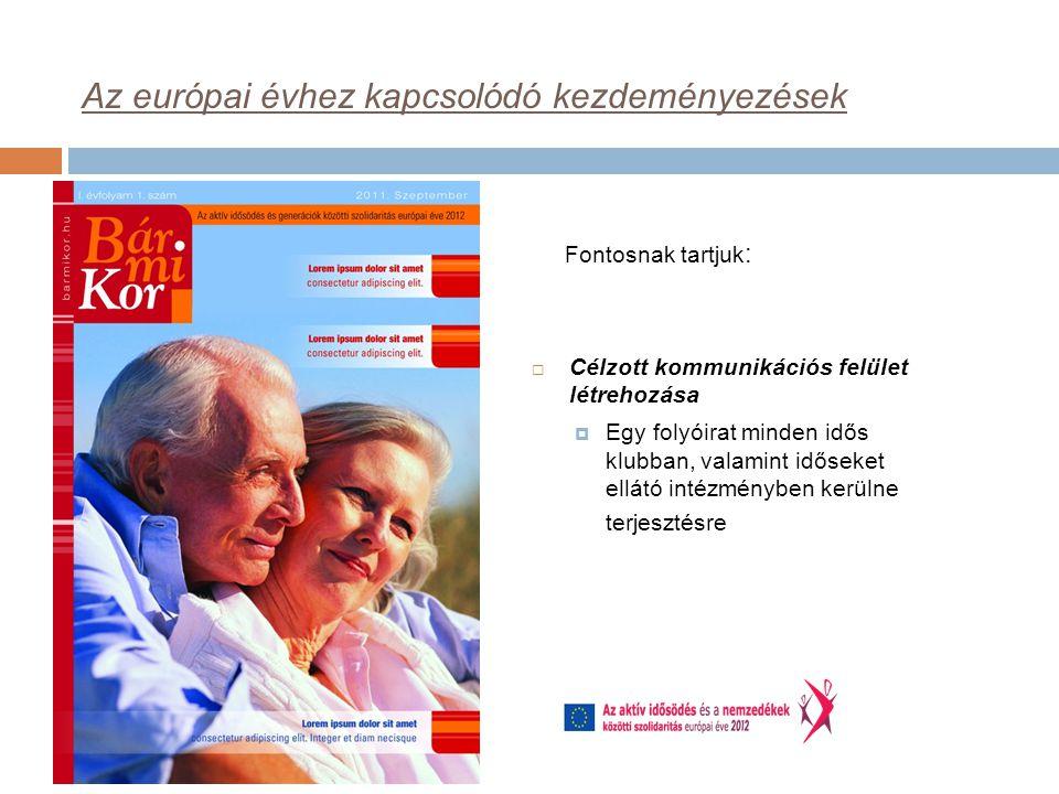 Az európai évhez kapcsolódó kezdeményezések  Célzott kommunikációs felület létrehozása  Egy folyóirat minden idős klubban, valamint időseket ellátó intézményben kerülne terjesztésre Fontosnak tartjuk :