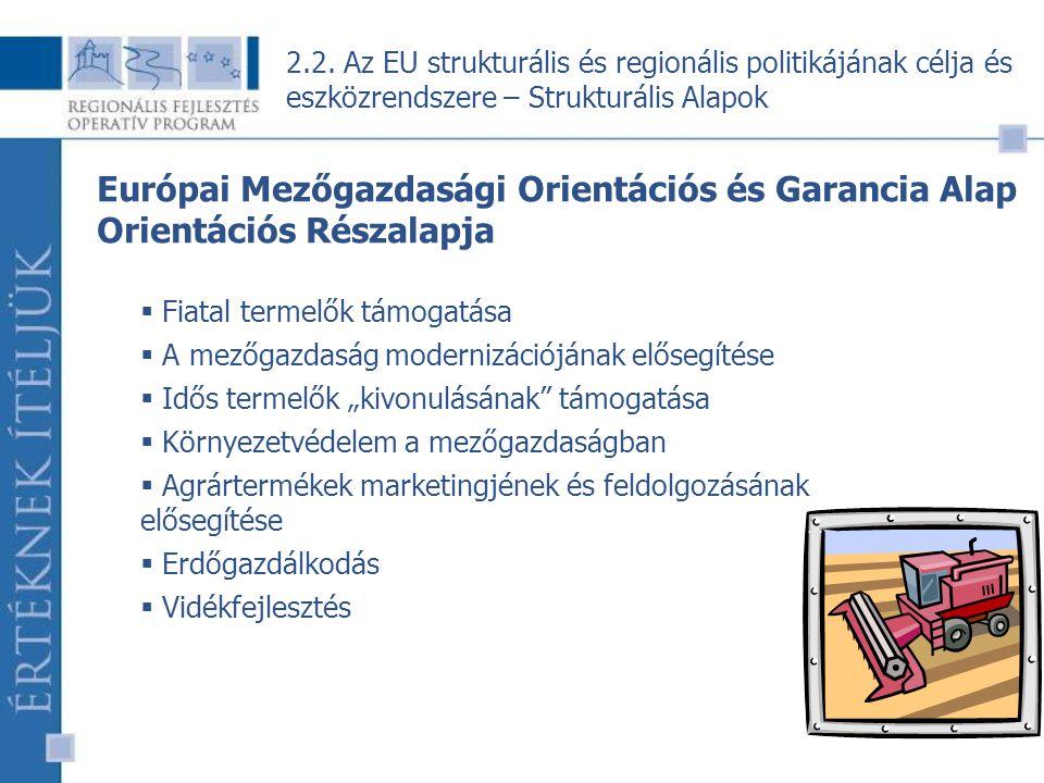 """16 Európai Mezőgazdasági Orientációs és Garancia Alap Orientációs Részalapja  Fiatal termelők támogatása  A mezőgazdaság modernizációjának elősegítése  Idős termelők """"kivonulásának támogatása  Környezetvédelem a mezőgazdaságban  Agrártermékek marketingjének és feldolgozásának elősegítése  Erdőgazdálkodás  Vidékfejlesztés 2.2."""