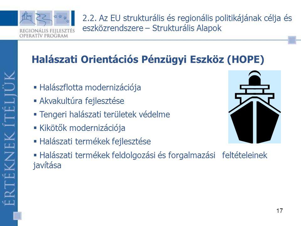 17 Halászati Orientációs Pénzügyi Eszköz (HOPE)  Halászflotta modernizációja  Akvakultúra fejlesztése  Tengeri halászati területek védelme  Kikötők modernizációja  Halászati termékek fejlesztése  Halászati termékek feldolgozási és forgalmazási feltételeinek javítása 2.2.