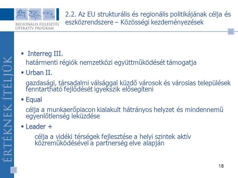 18  Interreg III. határmenti régiók nemzetközi együttműködését támogatja  Urban II.