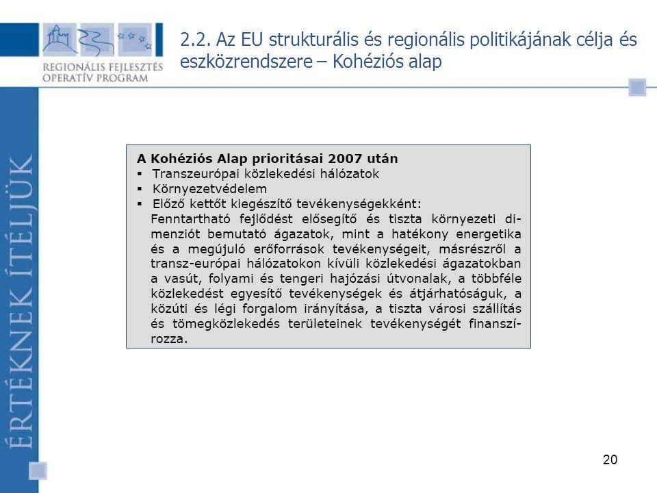 20 2.2. Az EU strukturális és regionális politikájának célja és eszközrendszere – Kohéziós alap