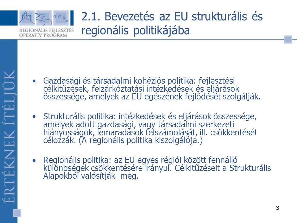 14 Európai Szociális Alap (ESZA)  Hosszútávú munkanélküliség kezelése  Fiatal munkanélküliek reintegrációja  A munkaerőpiacra jutás esélyegyenlőségének biztosítása  Oktatási és képzési rendszer modernizációja  Nők munkaerőpiaci integrációja  Képzés, szakképzés, tanácsadás 2.2.