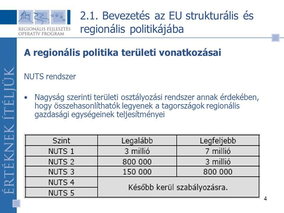15 2.2. Az EU strukturális és regionális politikájának célja és eszközrendszere – 2007 után