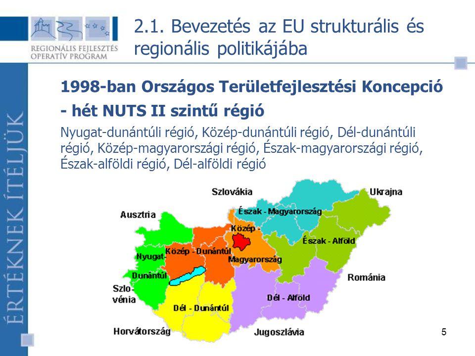 5 1998-ban Országos Területfejlesztési Koncepció - hét NUTS II szintű régió Nyugat-dunántúli régió, Közép-dunántúli régió, Dél-dunántúli régió, Közép-magyarországi régió, Észak-magyarországi régió, Észak-alföldi régió, Dél-alföldi régió 2.1.