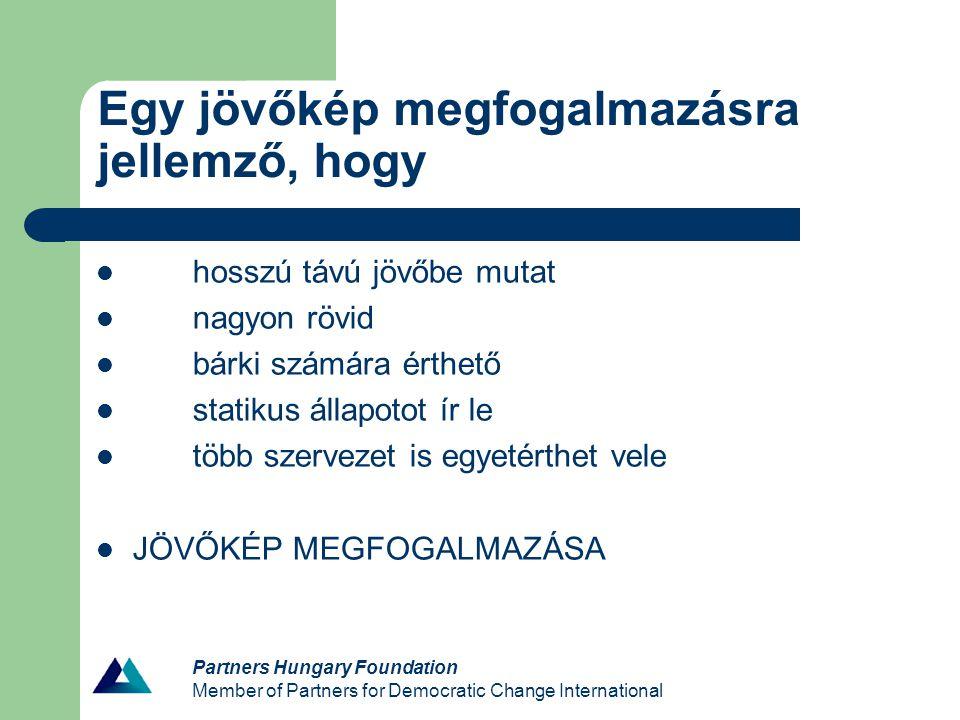 Egy jövőkép megfogalmazásra jellemző, hogy hosszú távú jövőbe mutat nagyon rövid bárki számára érthető statikus állapotot ír le több szervezet is egyetérthet vele JÖVŐKÉP MEGFOGALMAZÁSA Partners Hungary Foundation Member of Partners for Democratic Change International