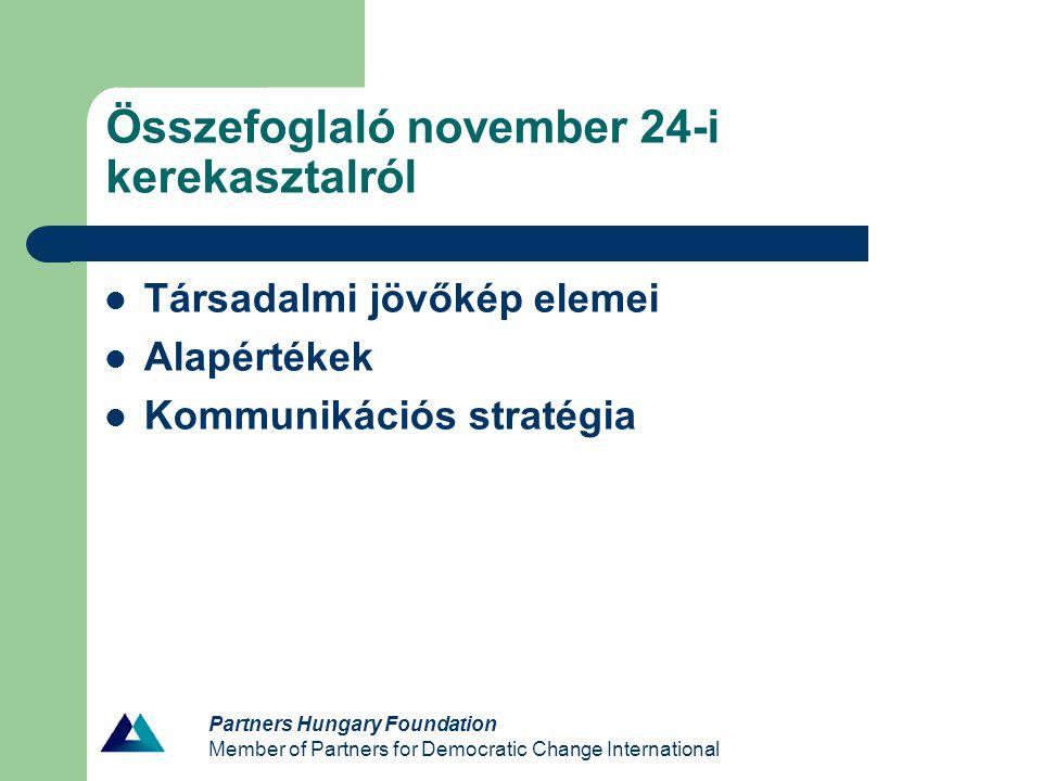 Partners Hungary Foundation Member of Partners for Democratic Change International Összefoglaló november 24-i kerekasztalról Társadalmi jövőkép elemei Alapértékek Kommunikációs stratégia