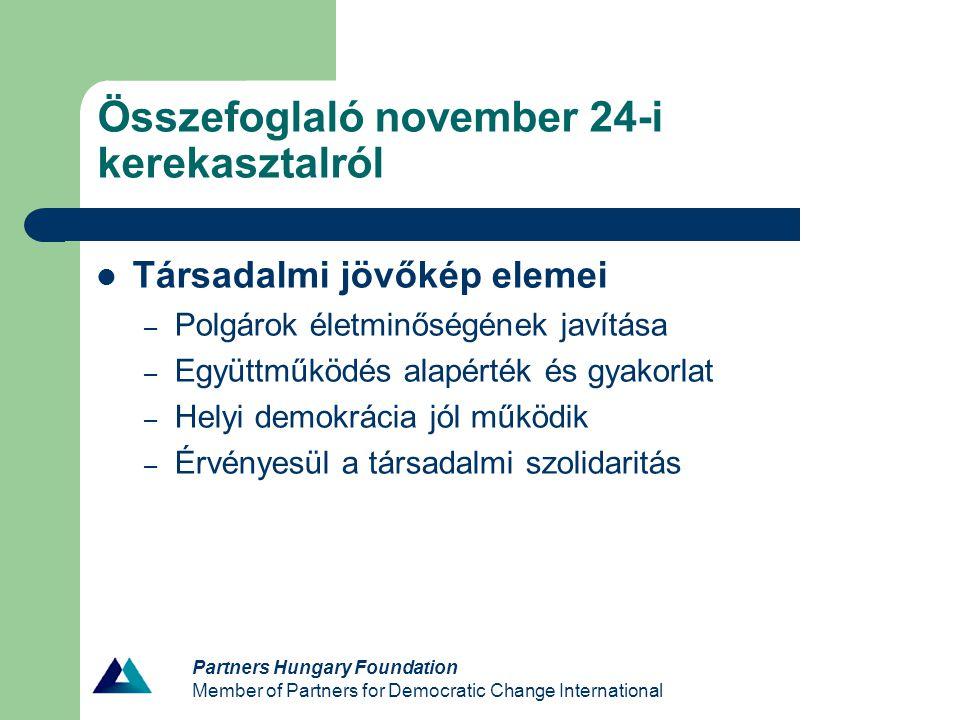 Partners Hungary Foundation Member of Partners for Democratic Change International Összefoglaló november 24-i kerekasztalról Társadalmi jövőkép elemei – Polgárok életminőségének javítása – Együttműködés alapérték és gyakorlat – Helyi demokrácia jól működik – Érvényesül a társadalmi szolidaritás