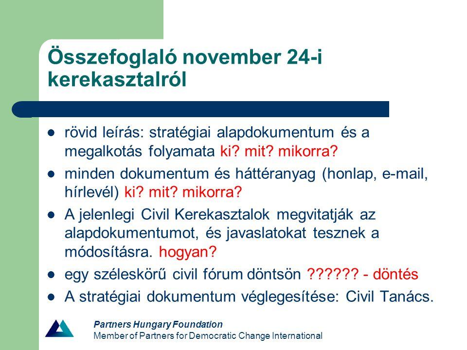 Partners Hungary Foundation Member of Partners for Democratic Change International Összefoglaló november 24-i kerekasztalról rövid leírás: stratégiai alapdokumentum és a megalkotás folyamata ki.